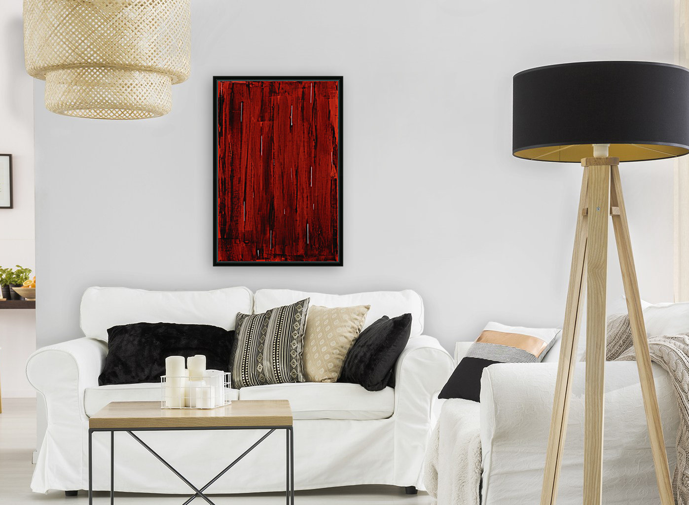 Rain, Abstract Painting In Red And Black (Acrylic Painting).  Art