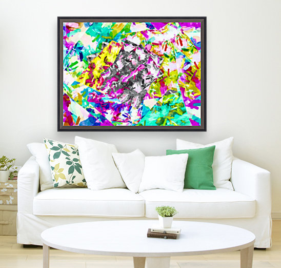 psychedelic splash painting abstract in pink blue yellow green purple  Art