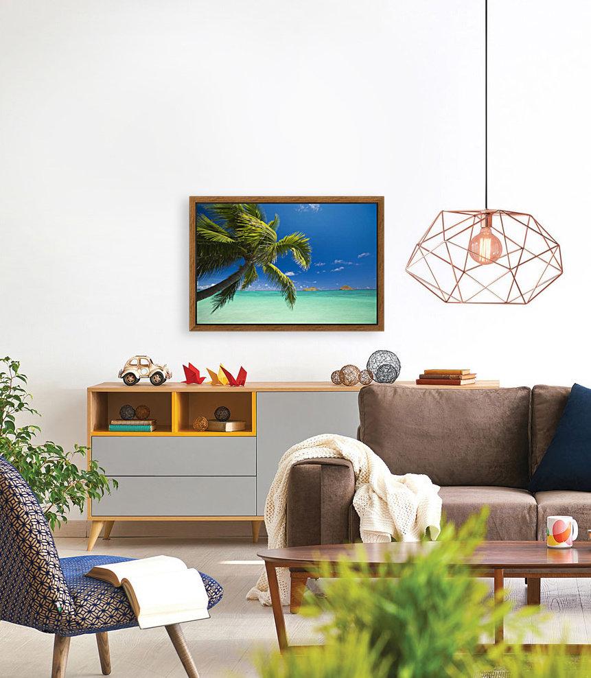 USA, Hawaii, Oahu, Mokulua island in background; Lanikai, Palm tree over Pacific Ocean  Art