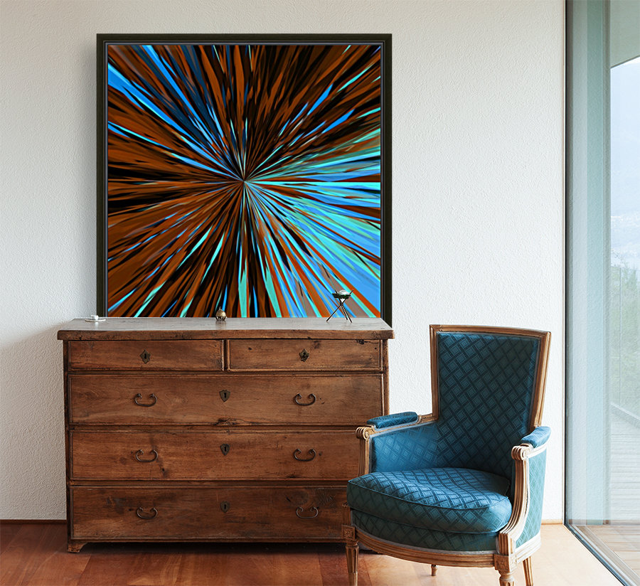 psychedelic splash painting abstract pattern in brown and blue  Art