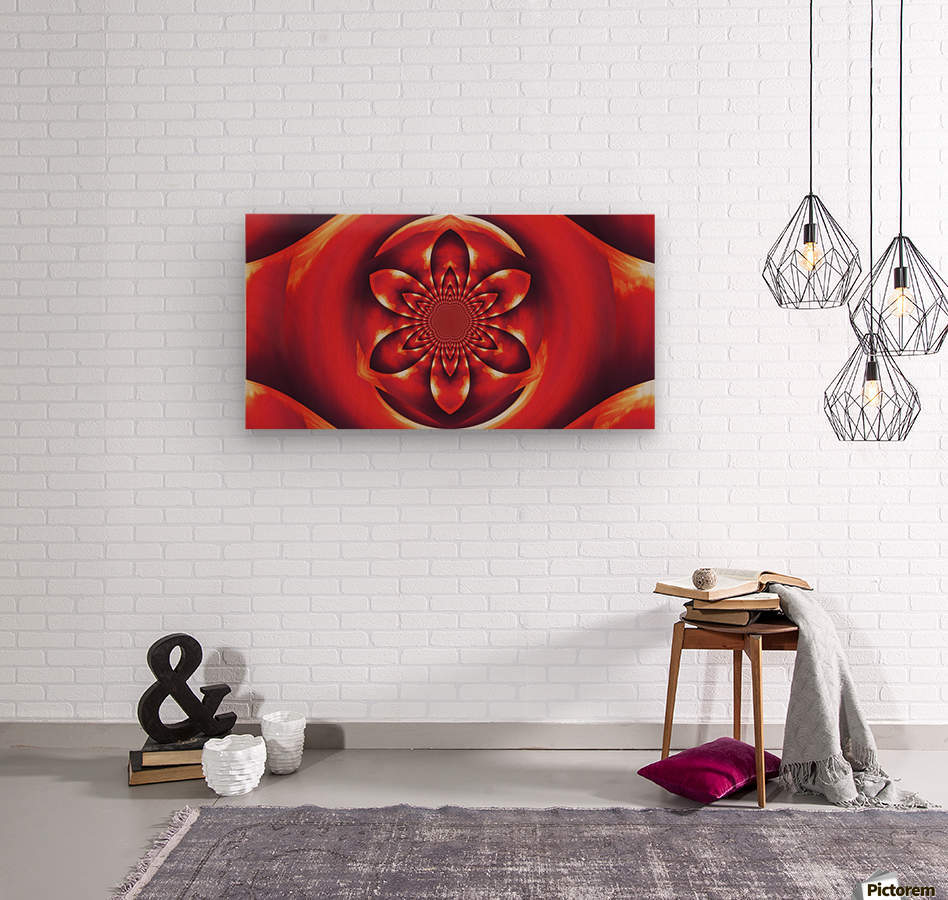 Red Fire Flower 1  Wood print