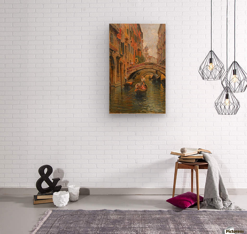 A walk with the gondola along a small canal in Venice  Wood print