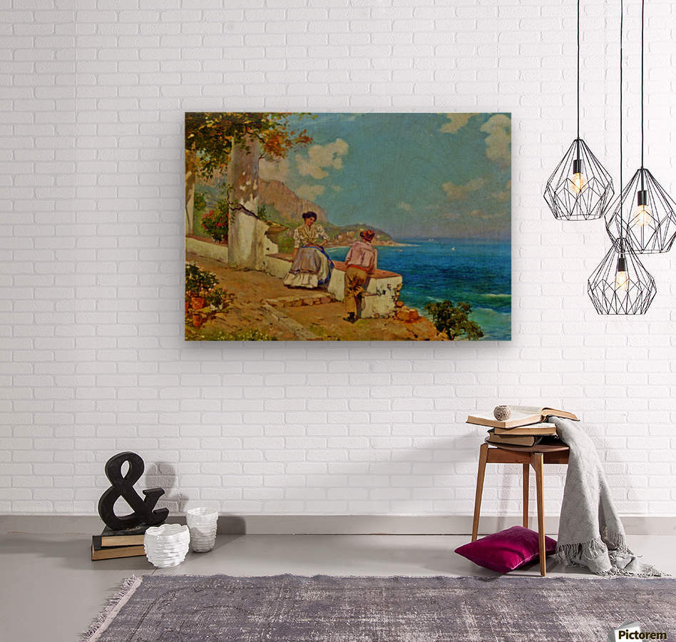 Courting couple in Naples  Wood print