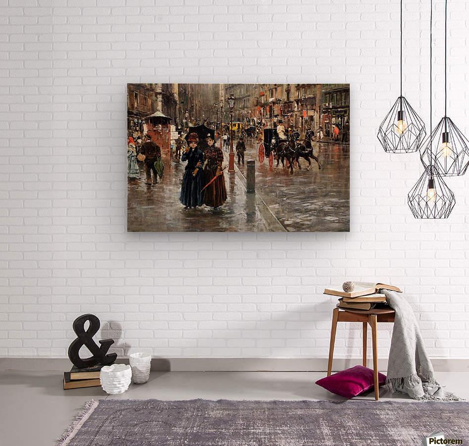 Naples via Toledo, with rain drops  Wood print