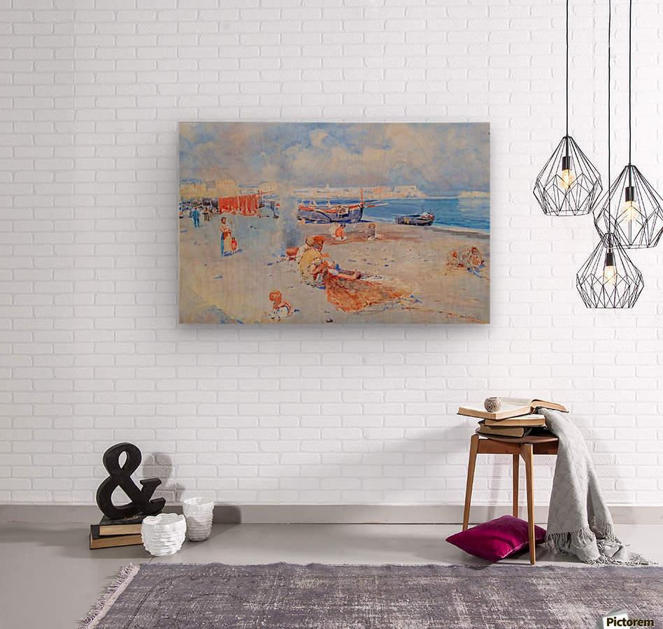 Beach of Mergellina  Wood print