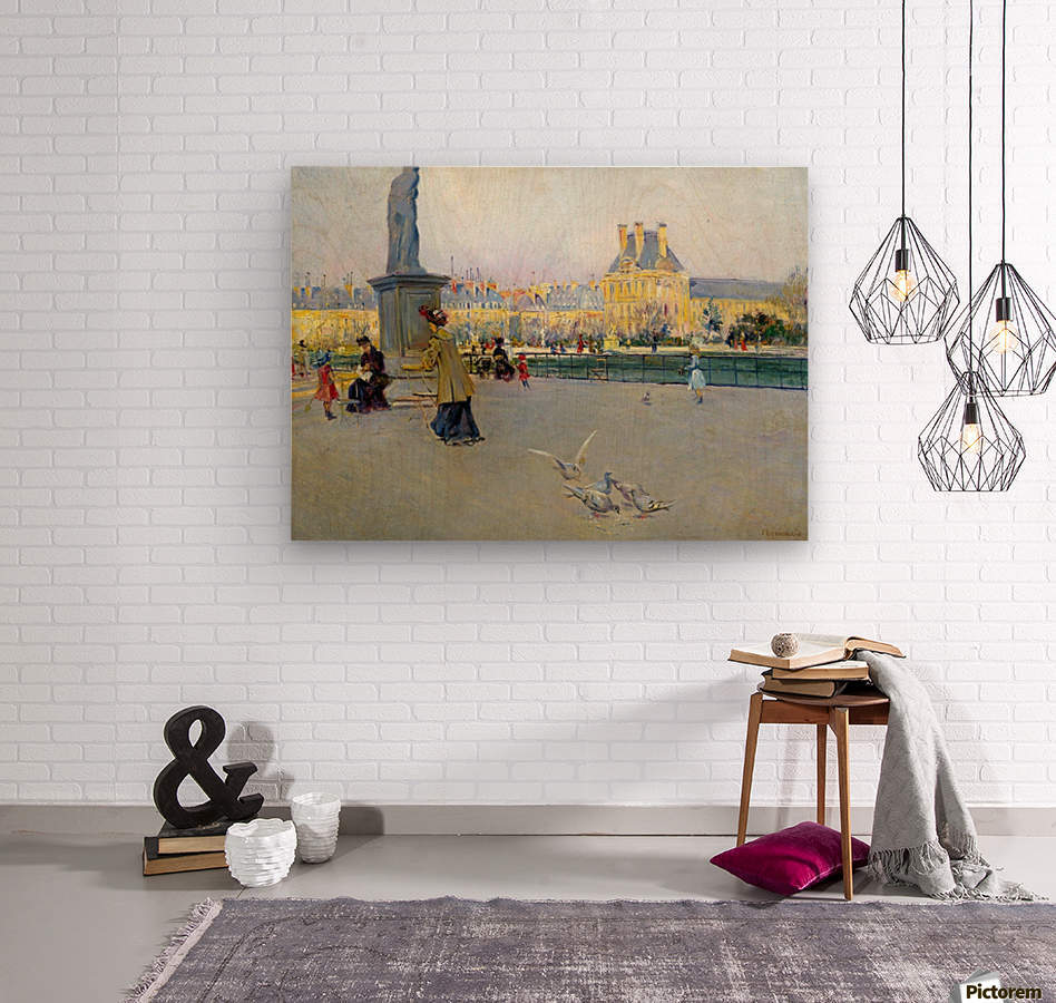 City view with figures and birds in Paris  Wood print