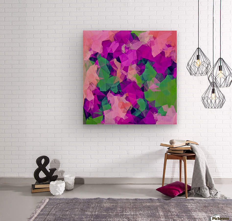 psychedelic geometric polygon pattern abstract in pink purple green  Wood print