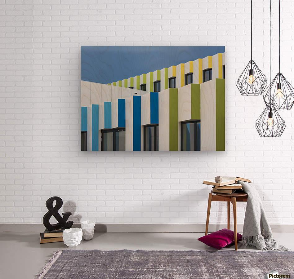 Triple facades  Wood print