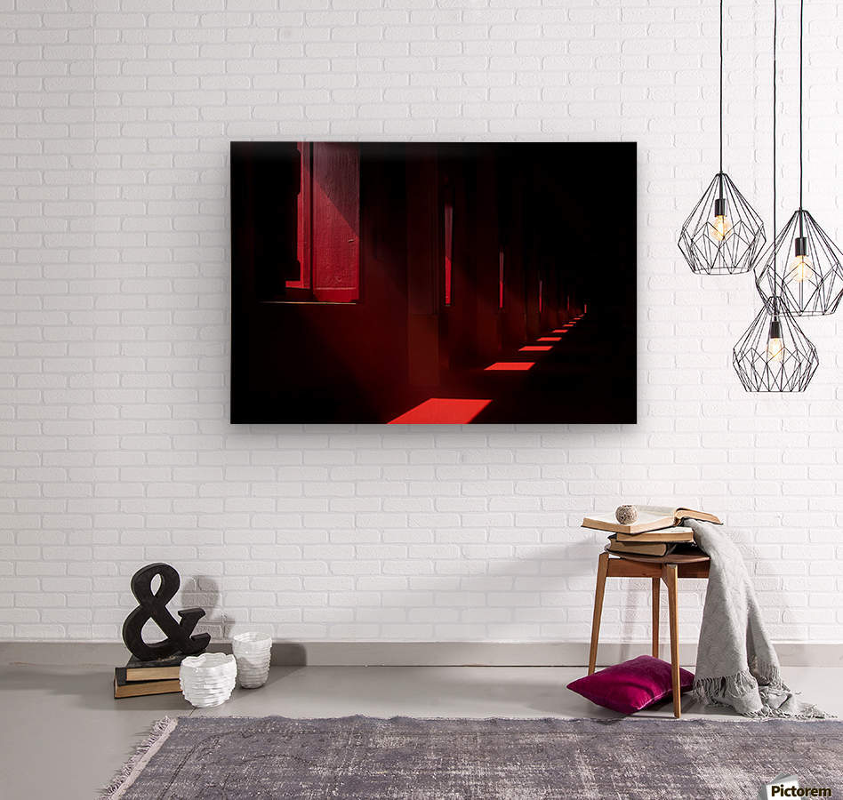 In the red temple  Wood print