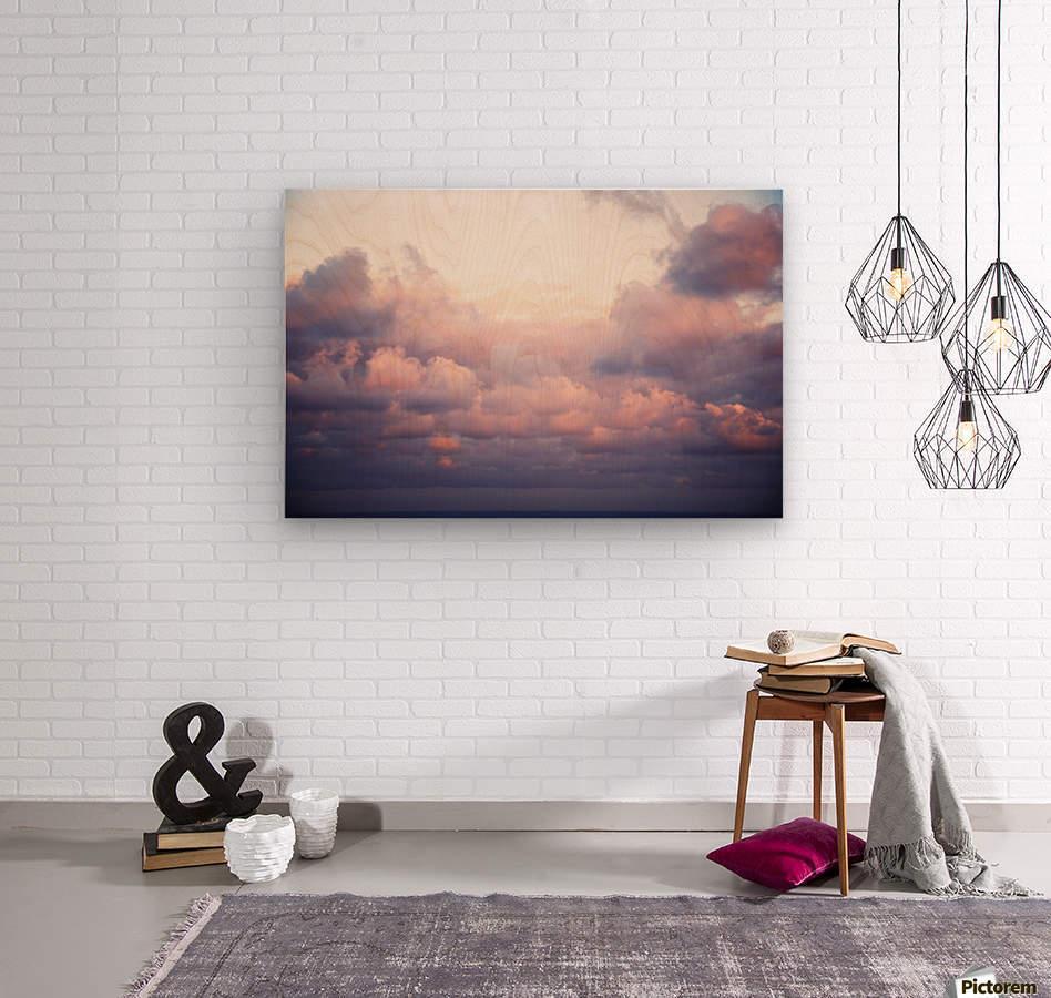 Cumulous pink clouds over horizon; Aina Haina, Oahu, Hawaii, United States of America  Wood print