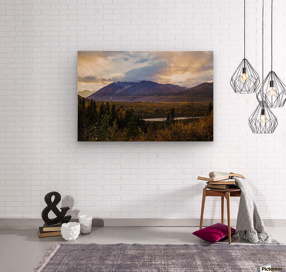 Autumn sunset overlooking the area known as 'Black Rapids' in the Alaska Range along the Richardson Highway; Alaska, United States of America  Wood print