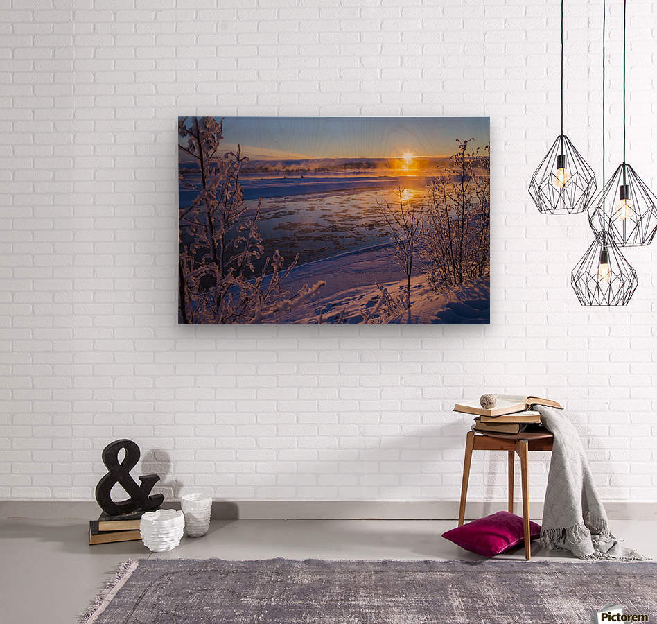 Ice flows in the Tanana River at sunset during freeze up in early winter; Alaska, United States of America  Wood print