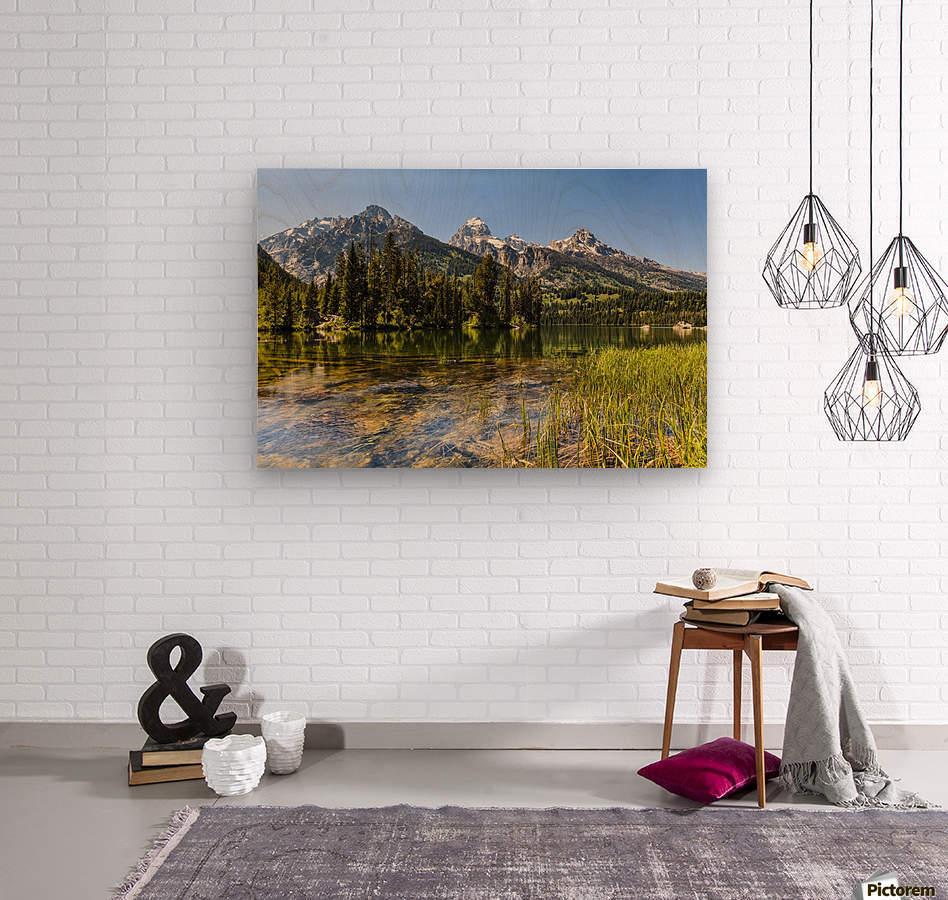 Taggart Lake and Grand Teton, Grand Teton National Park; Wyoming, United States of America  Wood print