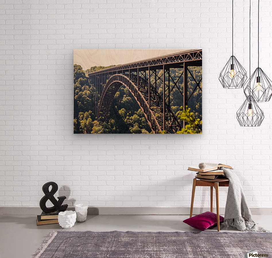 The New River Gorge Bridge is a steel arch bridge 3,030 feet long over the New River Gorge near Fayetteville, in the Appalachian Mountains of the Eastern United States; West Virginia, United States of America  Wood print