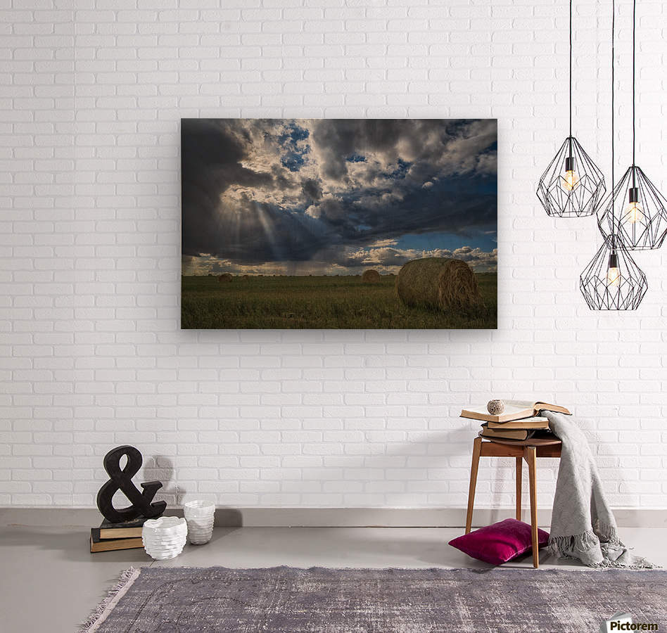 Sunlight breaks through the storm clouds over a field of hay bales; Saskatchewan, Canada  Wood print