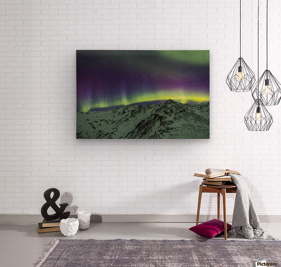 Aurora borealis over mountains within Denali National Park on a very cold winter night.  The Andromeda Galaxy is visible to the left; Alaska, United States of America  Wood print