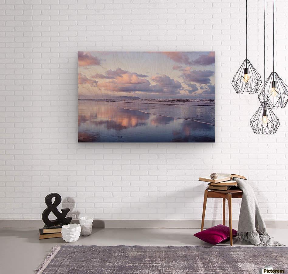 Clouds reflect on an Oregon beach at sunrise; Hammond, Oregon, United States of America  Wood print