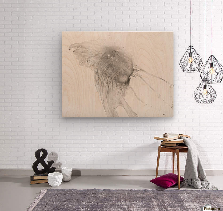 Jellyfish against a white background  Wood print