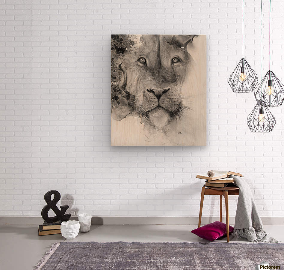 Illustration of a lion's face and a mottled background  Wood print