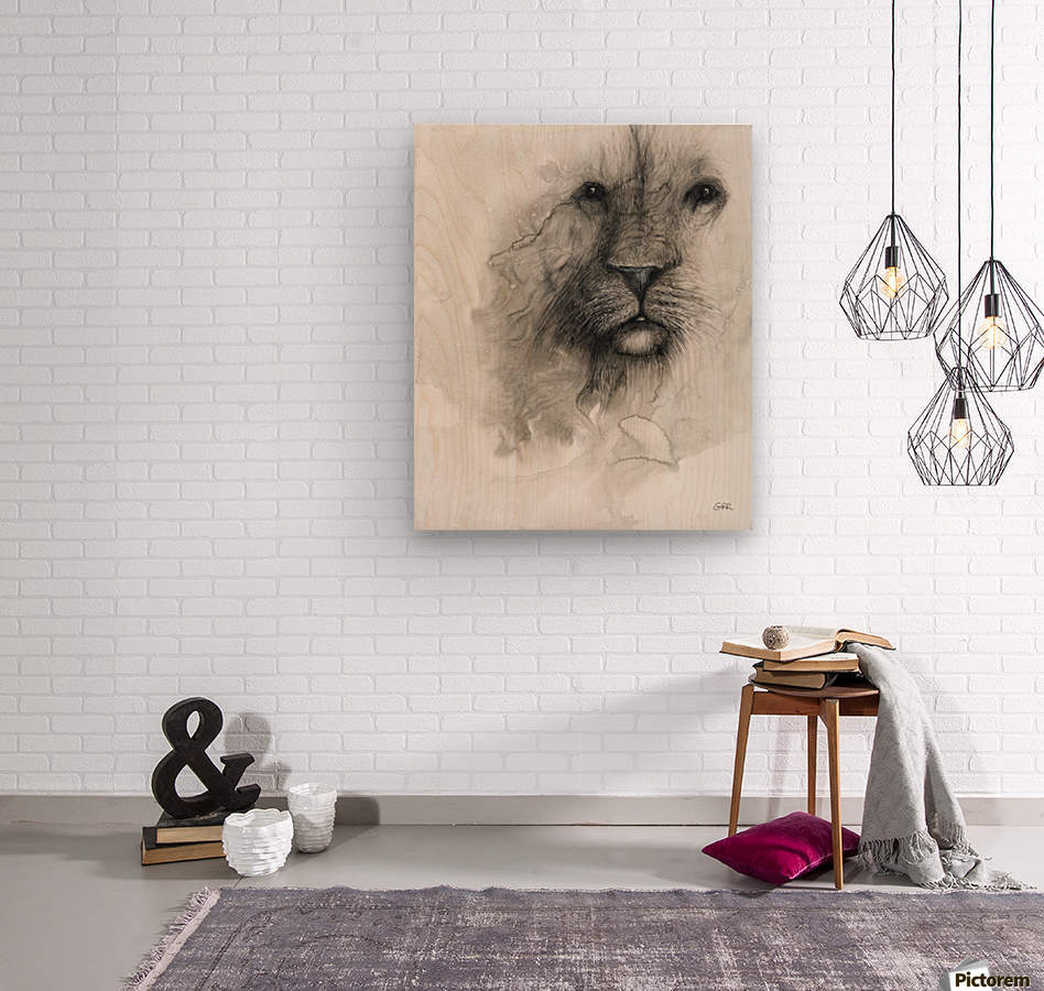 Illustration of a lion's face on a white background  Wood print