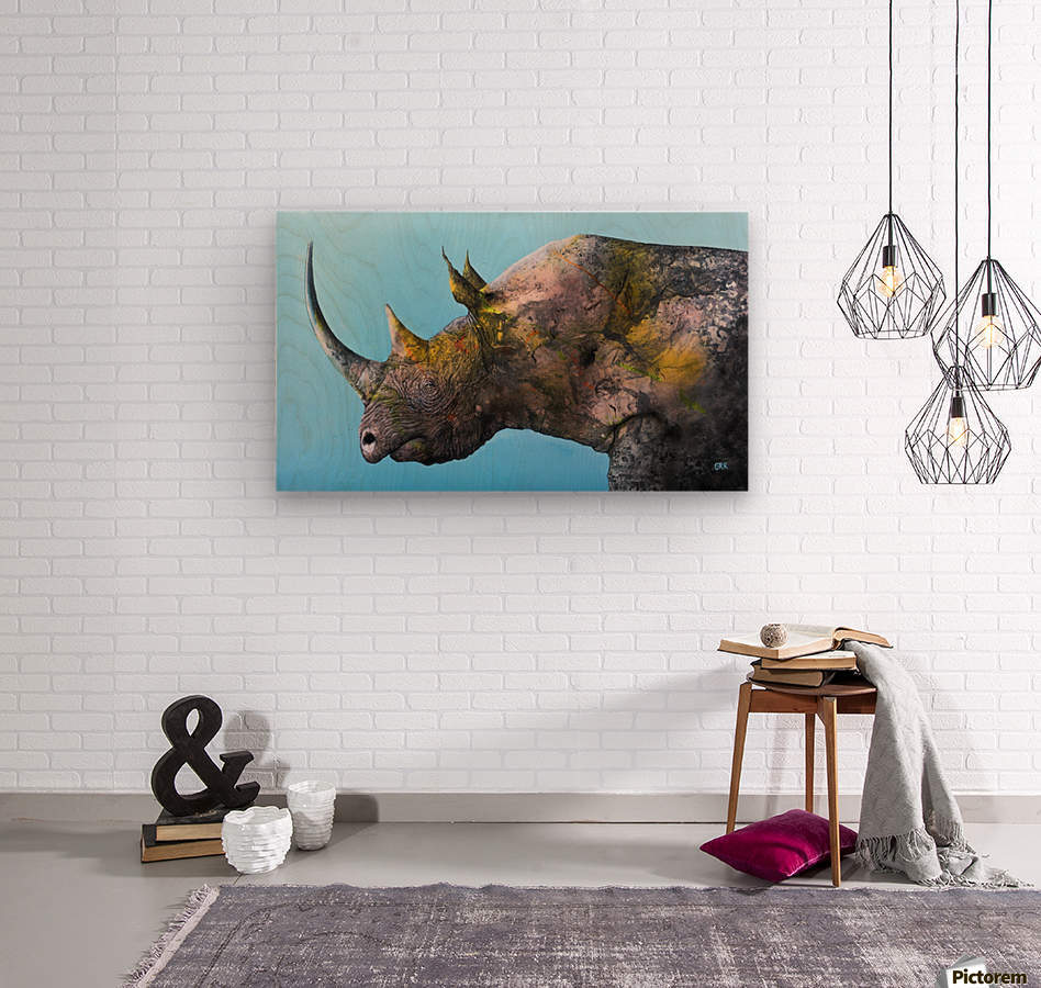 Illustration of a white rhinoceros against a blue background  Wood print