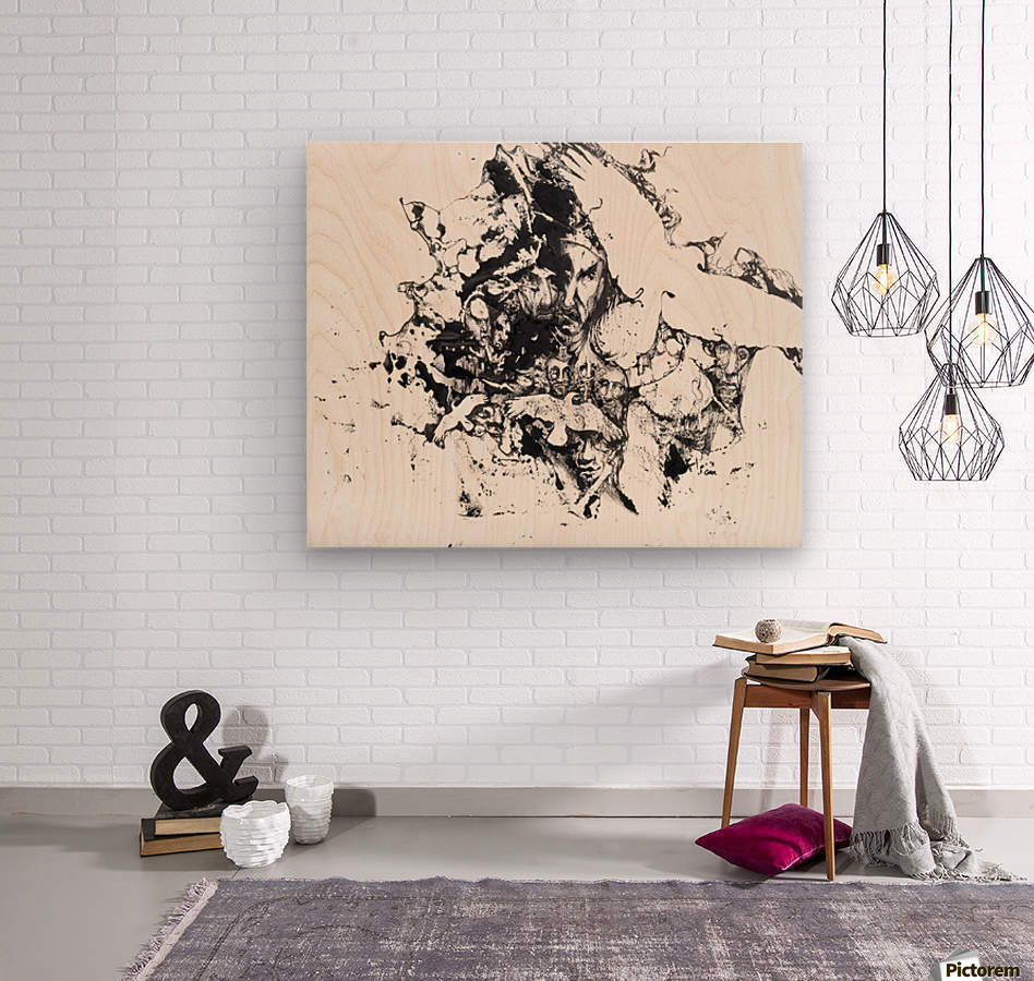 Black and white illustration of birds and human faces  Wood print