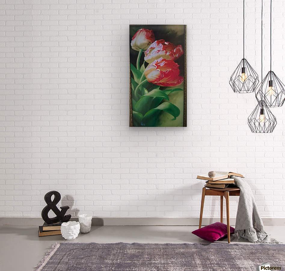 red flowers for  lovers   Wood print