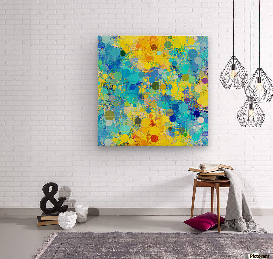 psychedelic geometric circle pattern and square pattern abstract in yellow and blue  Wood print