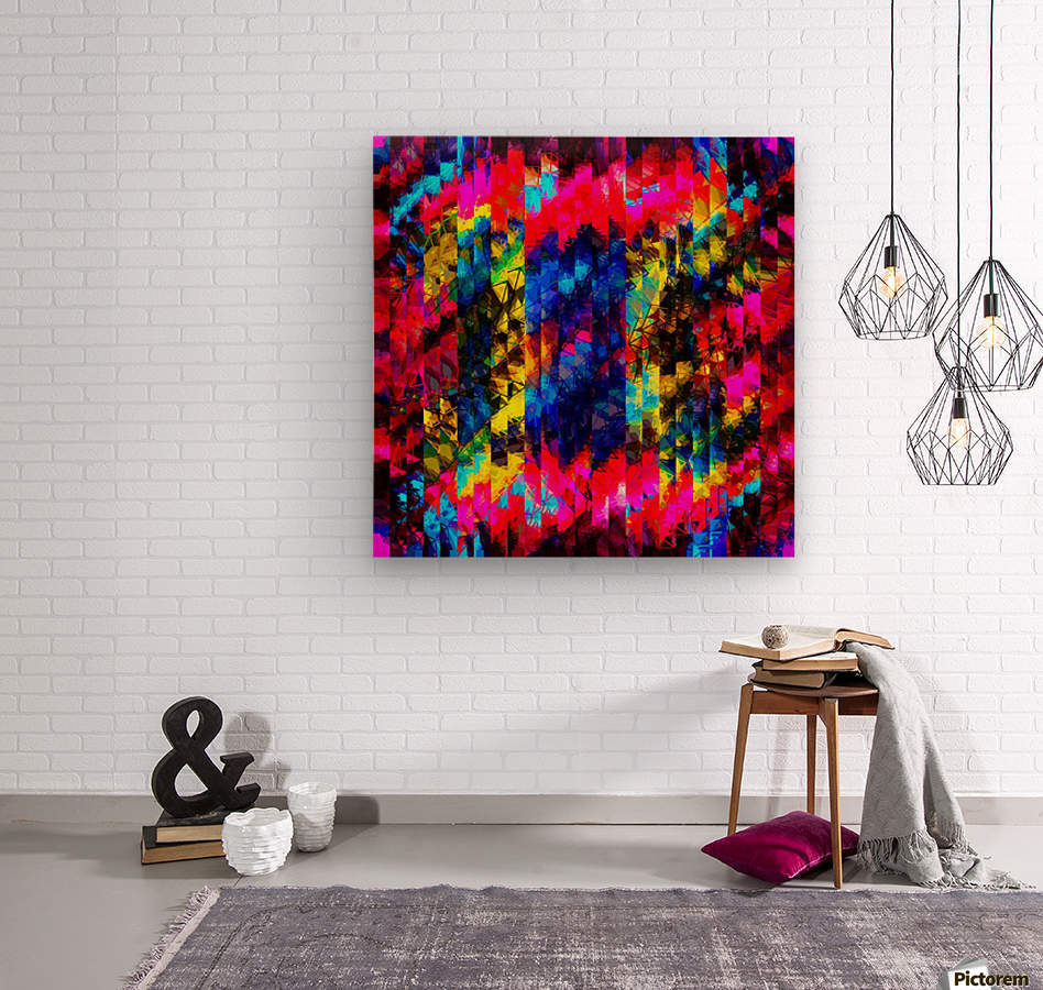psychedelic geometric painting abstract pattern in red pink blue yellow  Wood print