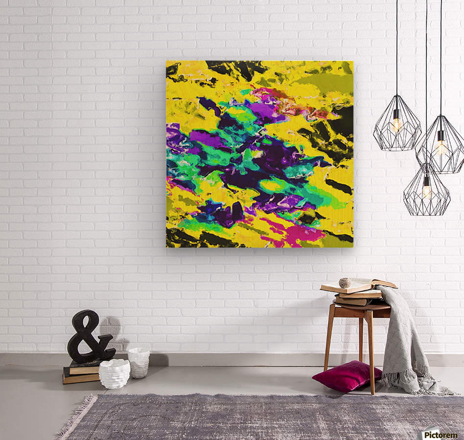 psychedelic splash painting abstract texture in yellow blue green purple  Wood print