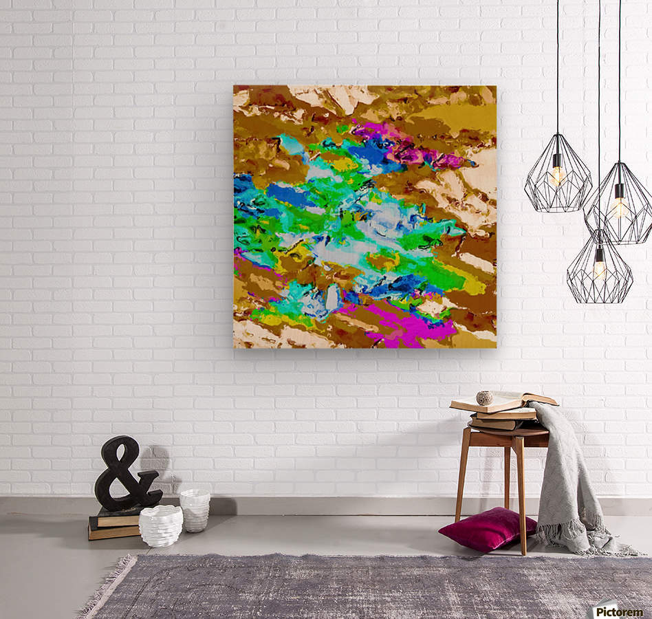 psychedelic splash painting abstract texture in brown green blue pink  Wood print