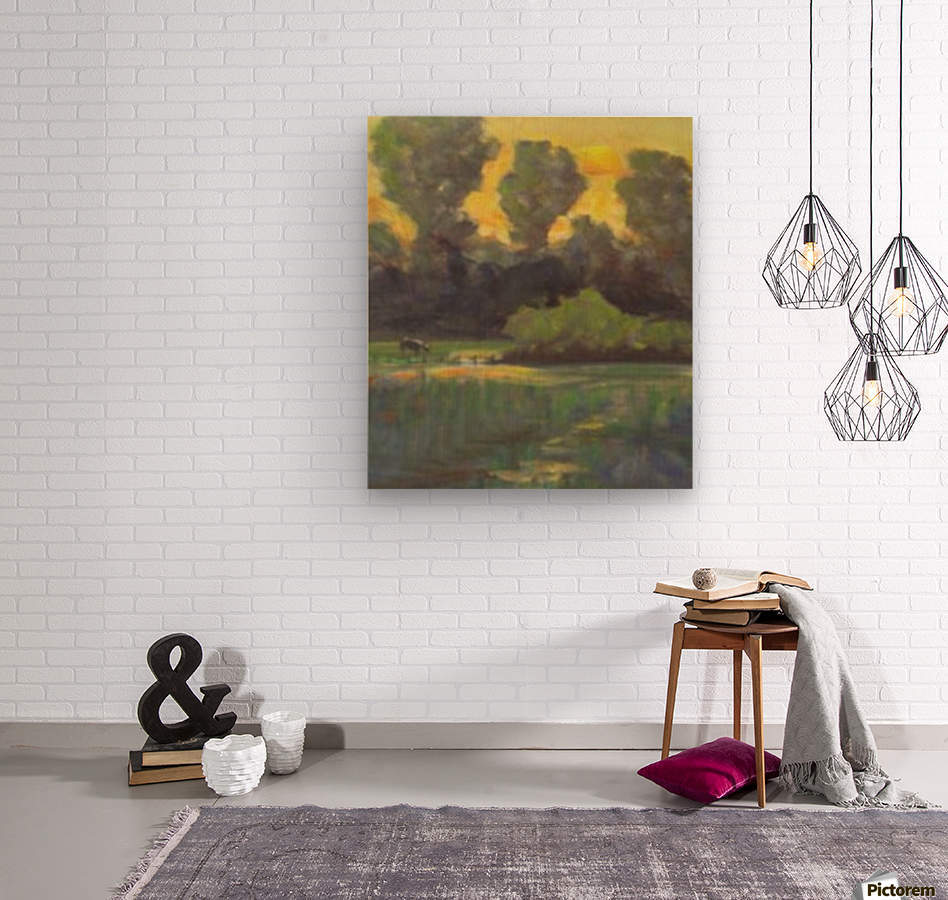Pasture at dusk  Wood print