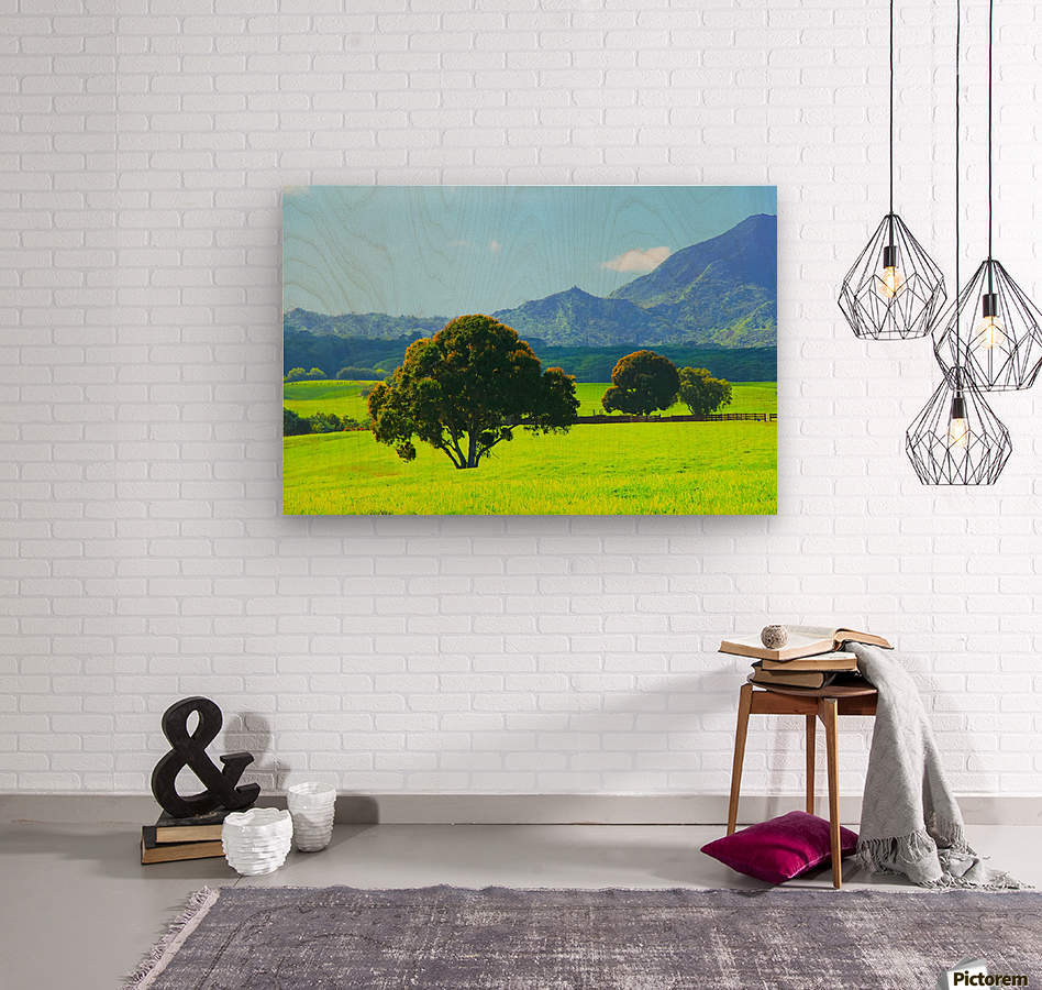 green tree in the green field with green mountain and blue sky background  Wood print