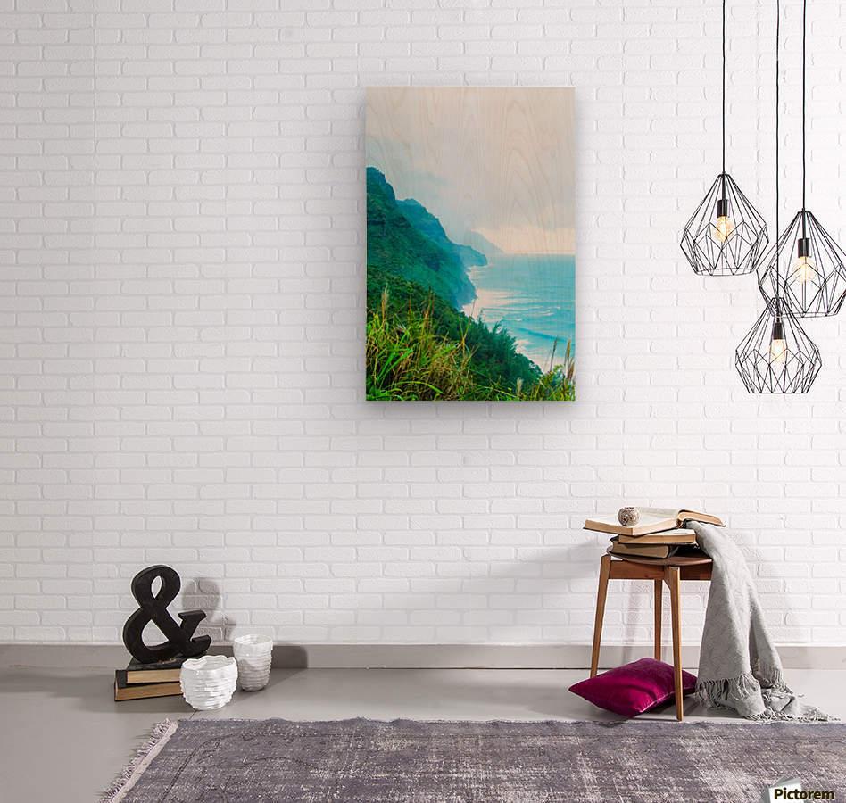 green mountain and ocean view at Kauai, Hawaii, USA  Wood print