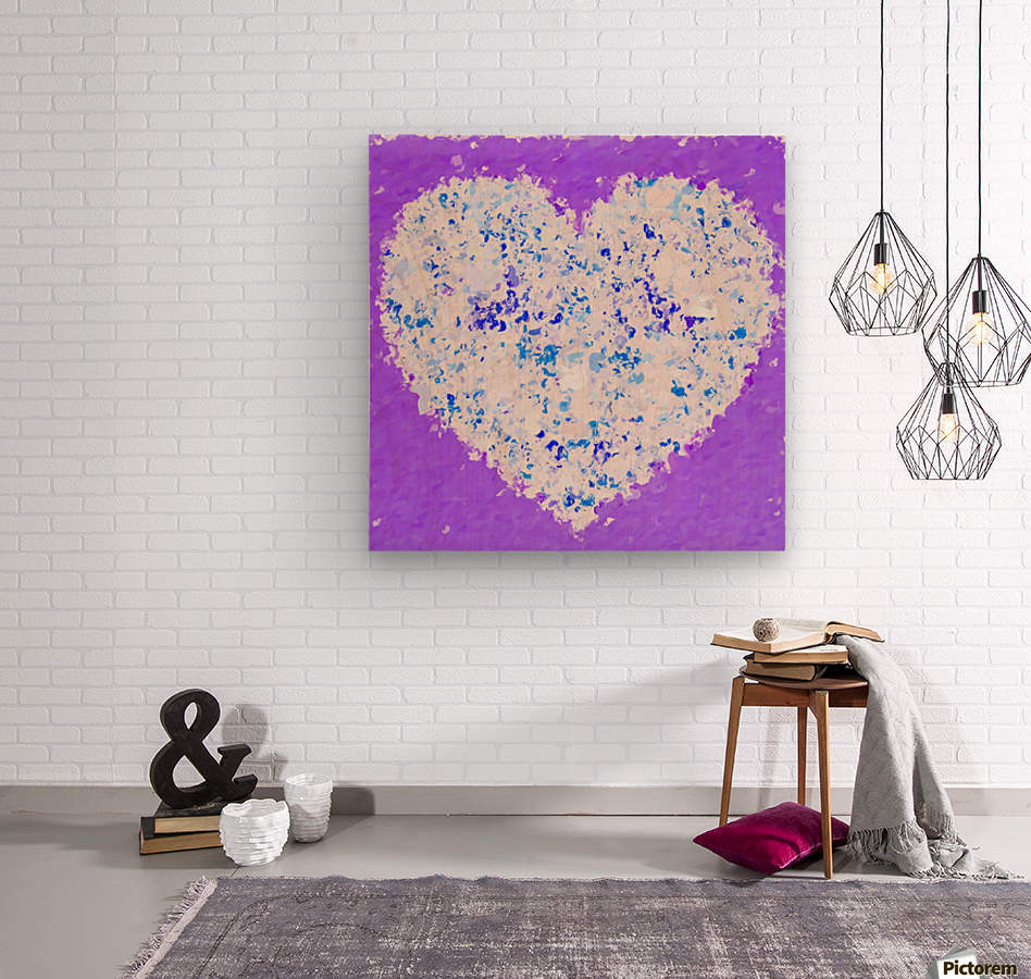 blue and white heart shape with purple background  Wood print