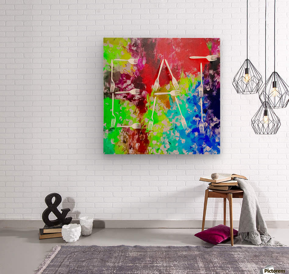 EAT alphabet by fork with colorful painting abstract background  Wood print