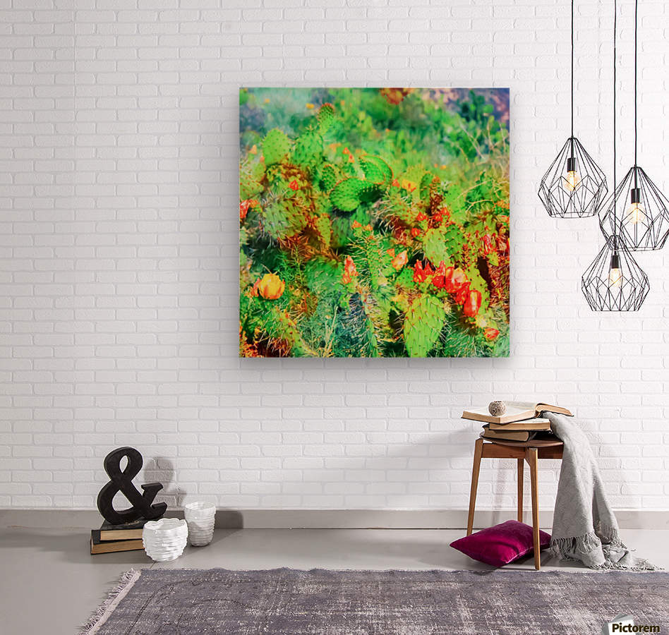 green cactus with yellow and red flower in the desert  Wood print