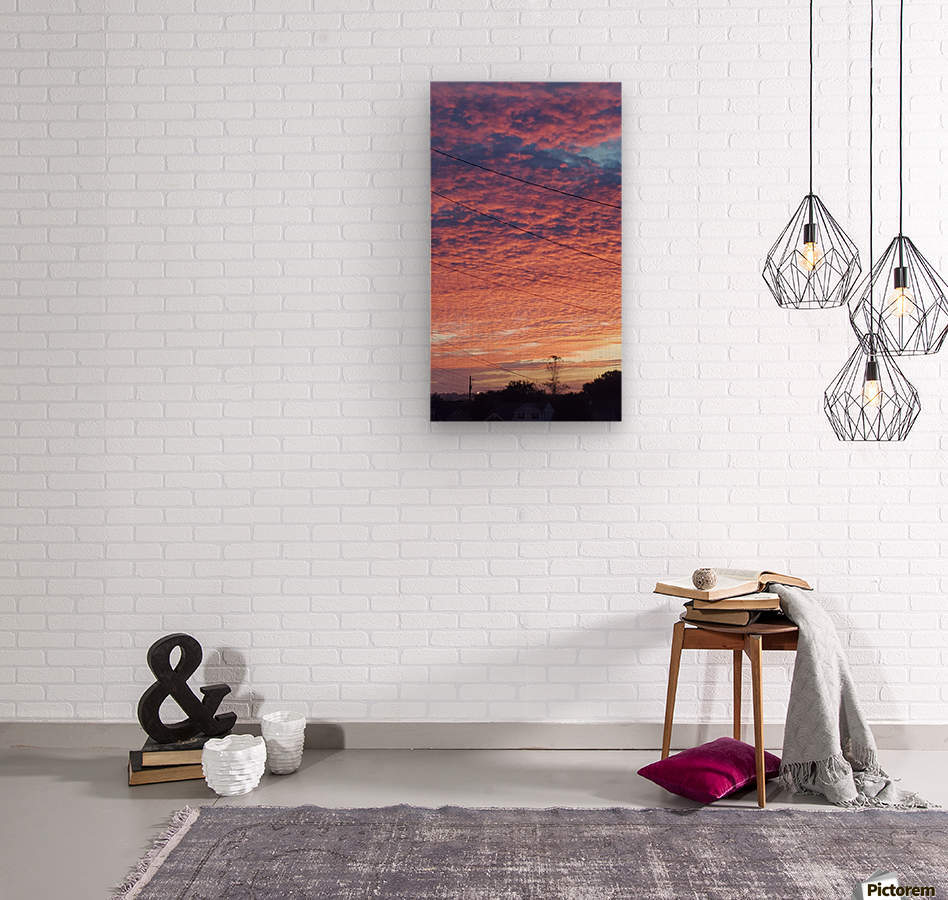 Red Sky Over Wires  Wood print