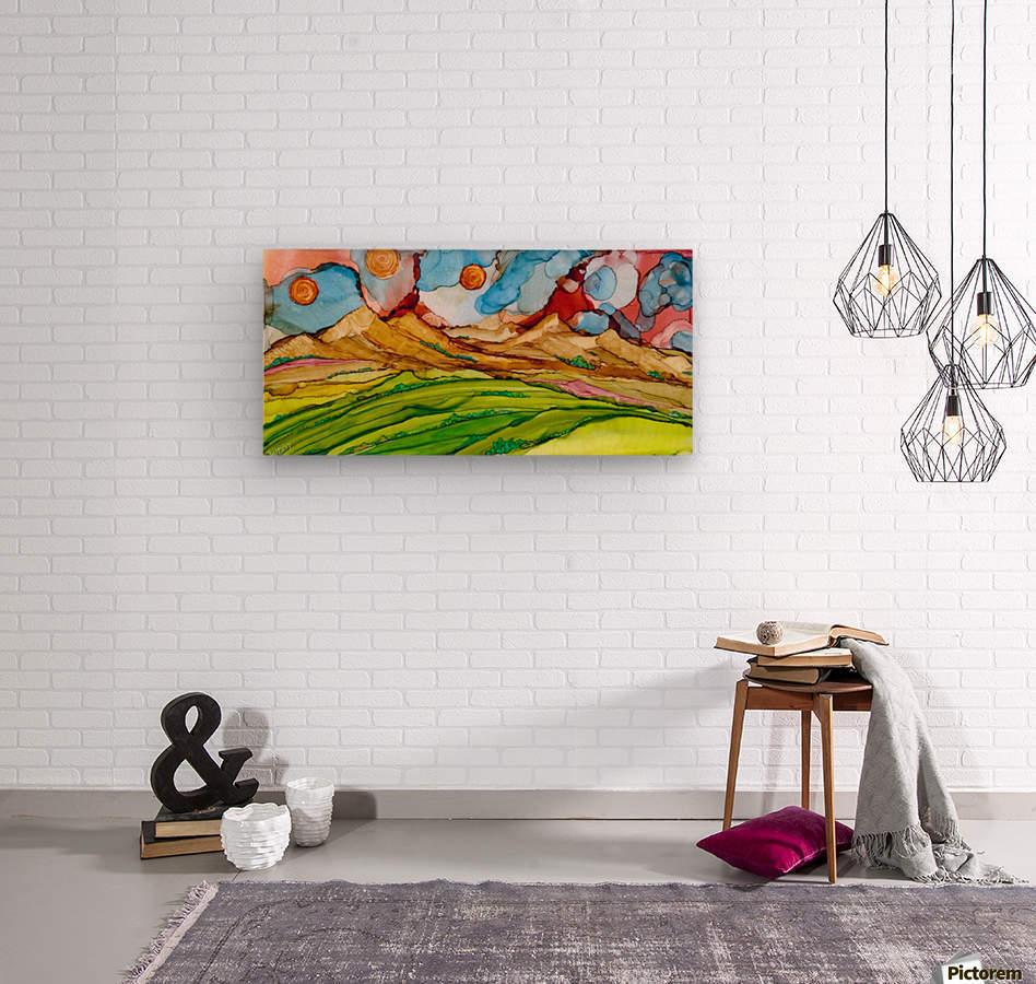 Three Suns  Wood print