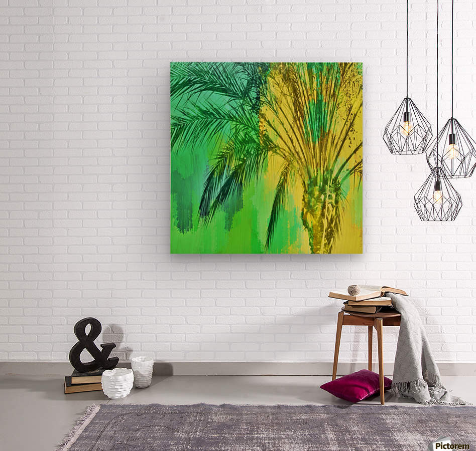 isolate palm tree with painting abstract background in green yellow  Wood print