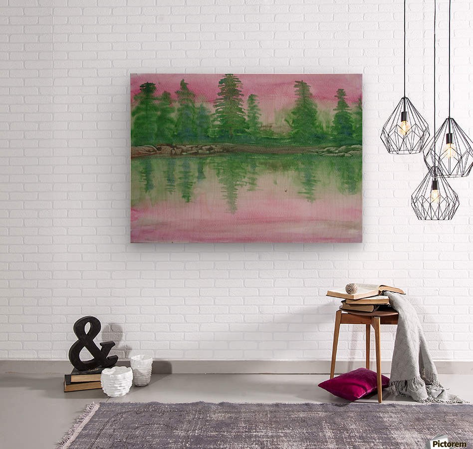 Reflections in the lake.  Wood print