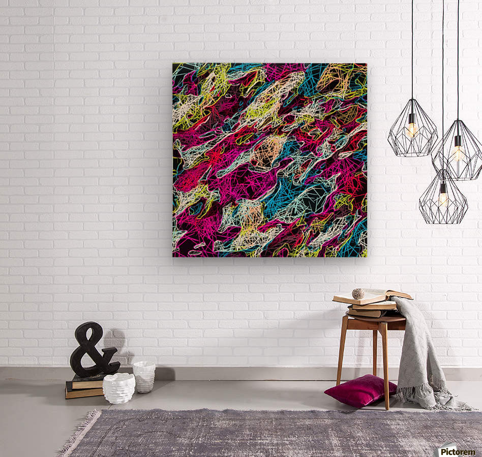 psychedelic rotten sketching texture abstract background in pink blue yellow  Wood print