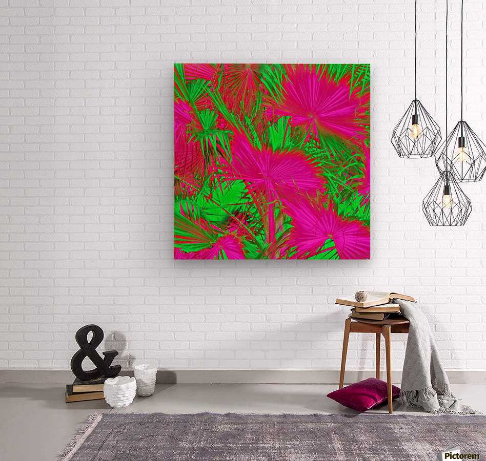 closeup palm leaf texture abstract background in pink and green  Wood print
