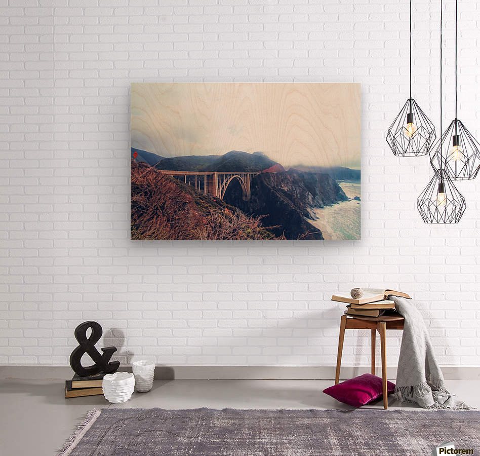 beautiful landscape at Bixby bridge, Big Sur, California, USA   Wood print