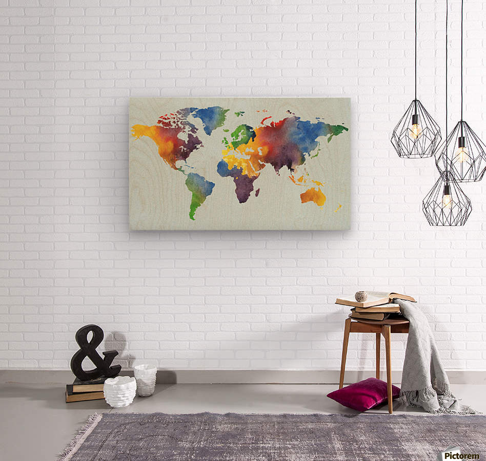 Bright Watercolor Map Of The World  Wood print