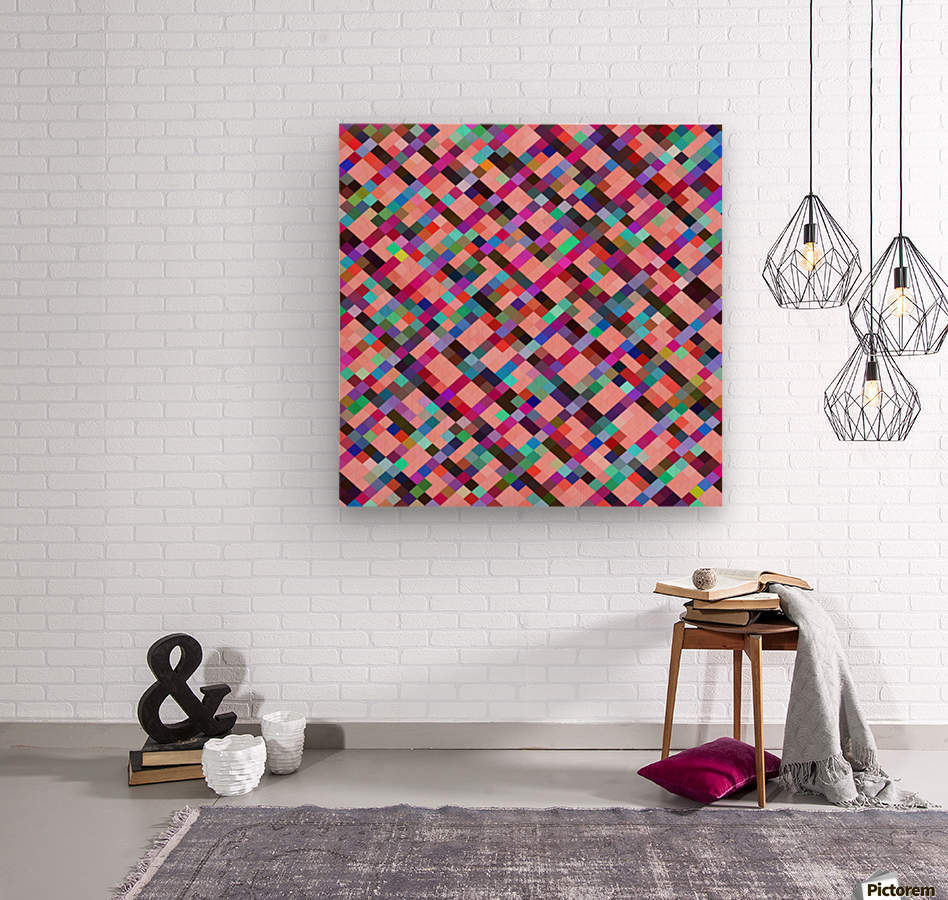 geometric pixel square pattern abstract background in pink purple blue yellow green  Wood print