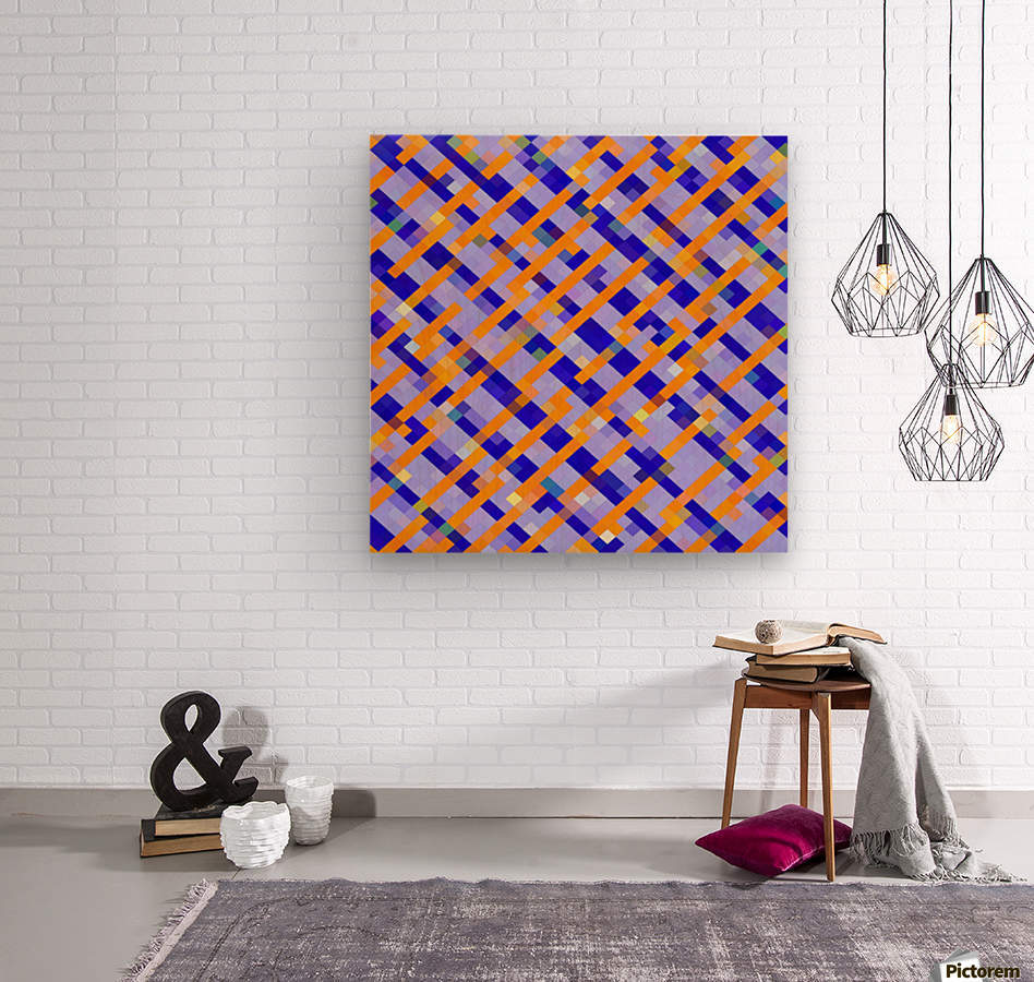 geometric pixel square pattern abstract background in orange blue purple  Wood print