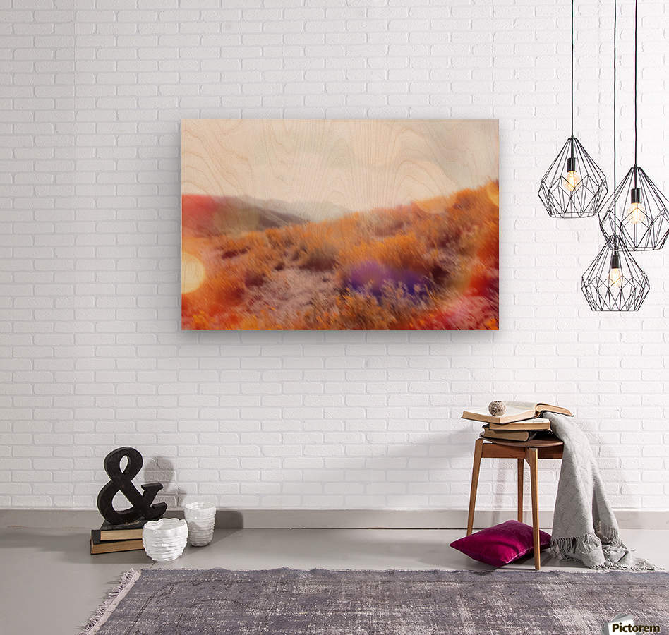 yellow flower field on the mountain with summer light bokeh abstract  Wood print