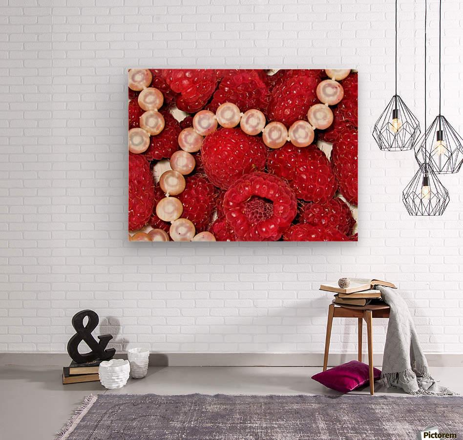 Raspberry pearls  Wood print