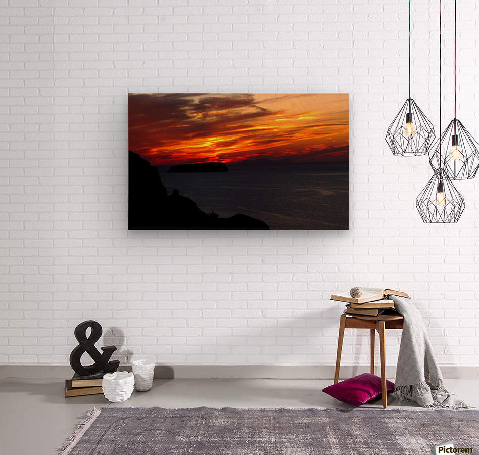 Amazing sunset   Wood print